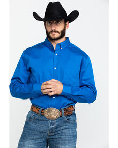 Cody James Core Solid Blue Performance Twill Long Sleeve Western Shirt - Big & Tall , Navy, hi-res