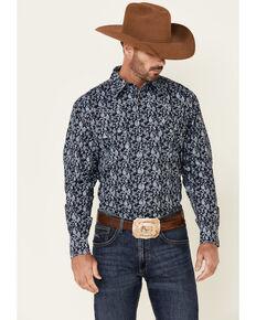 Cowboy Hardware Men's Navy Tonal Paisley Print Long Sleeve Snap Western Shirt , Navy, hi-res