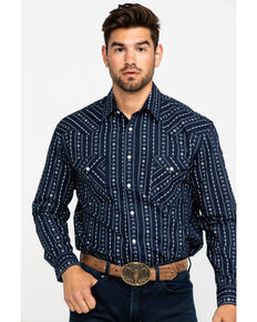 Rough Stock by Panhandle Men's Kaibab Aztec Dobby Print Long Sleeve Western Shirt , Black, hi-res