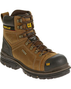 "Caterpillar Men's Hauler 6"" Waterproof Work Boots - Composite Toe, Light Brown, hi-res"