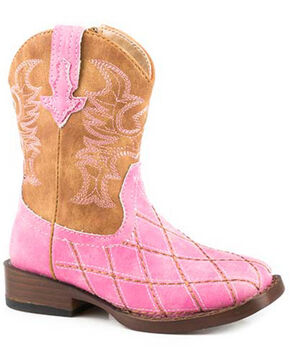 Roper Infant Girls/' Cowbaby Cross Cut Pre-Walker Cowgirl Boot Round Toe Brown