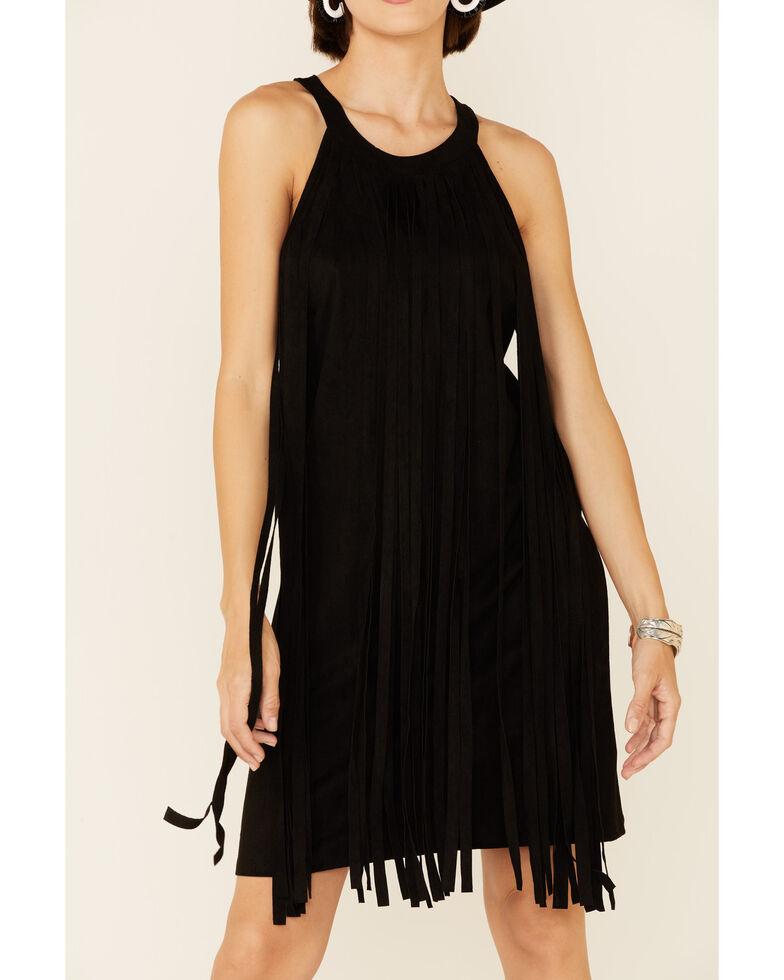 Rock & Roll Denim Women's A-Line Suede Fringe Dress, Black, hi-res