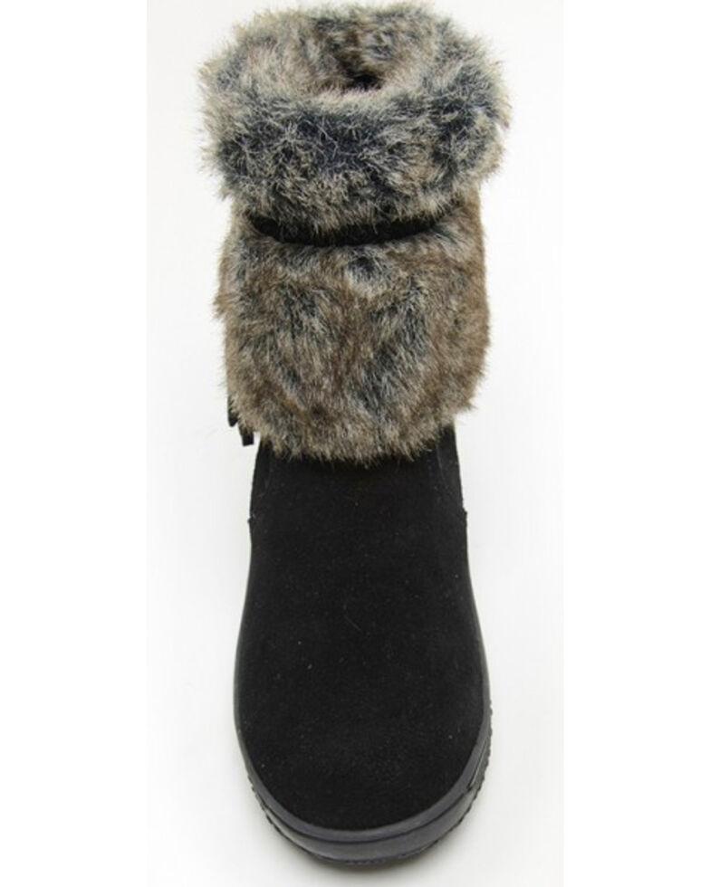 Minnetonka Women's Everett Suede Fur Boots - Round Toe, Black, hi-res