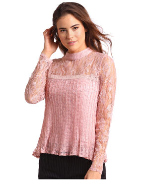 Panhandle Women's Allover Lace Blouse, Pink, hi-res