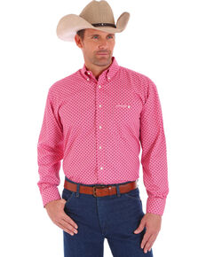 Wrangler Men's Tough Enough To Wear Pink Printed Shirt, Pink, hi-res