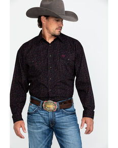 Panhandle Select Men's Fun Poplin Print Long Sleeve Western Shirt , Brown, hi-res