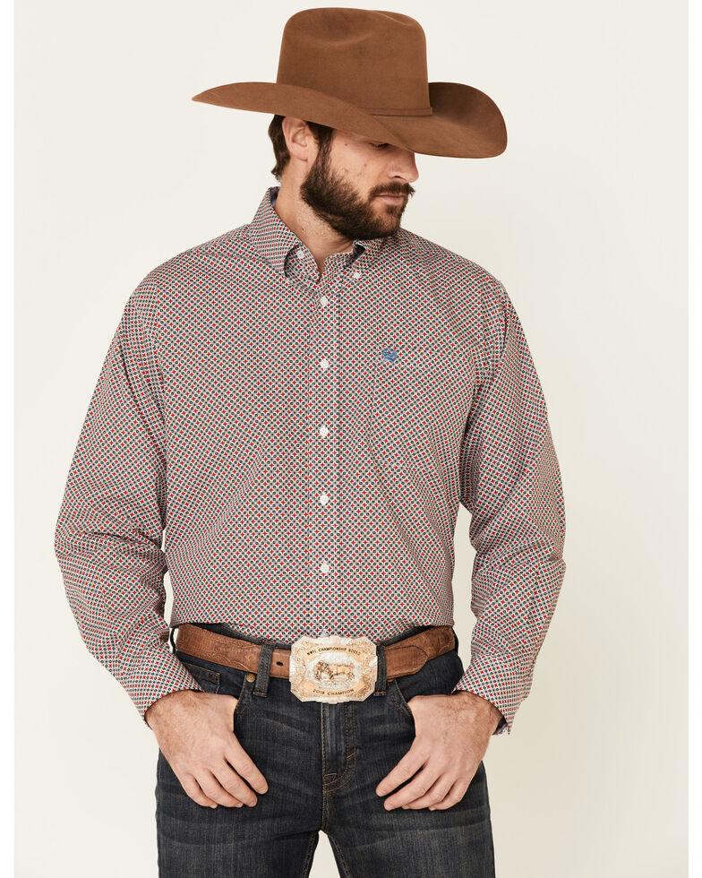 Cinch Men's White Floral Geo Print Long Sleeve Western Shirt , White, hi-res