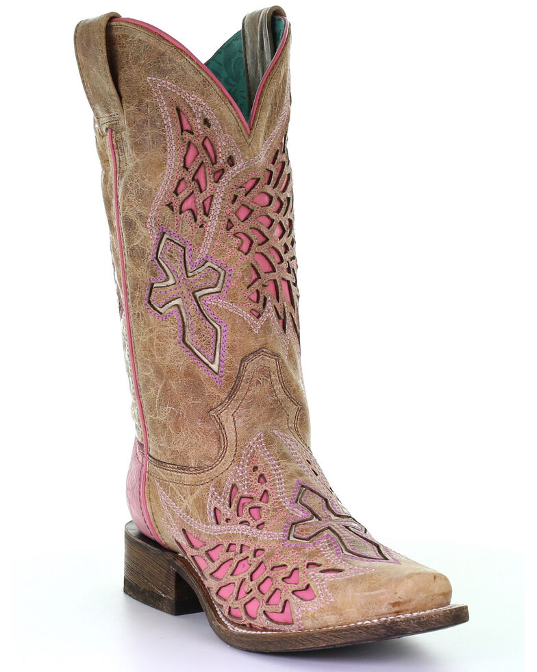 Corral Women's Side Wing & Cross Western Boots - Square Toe, Cognac, hi-res