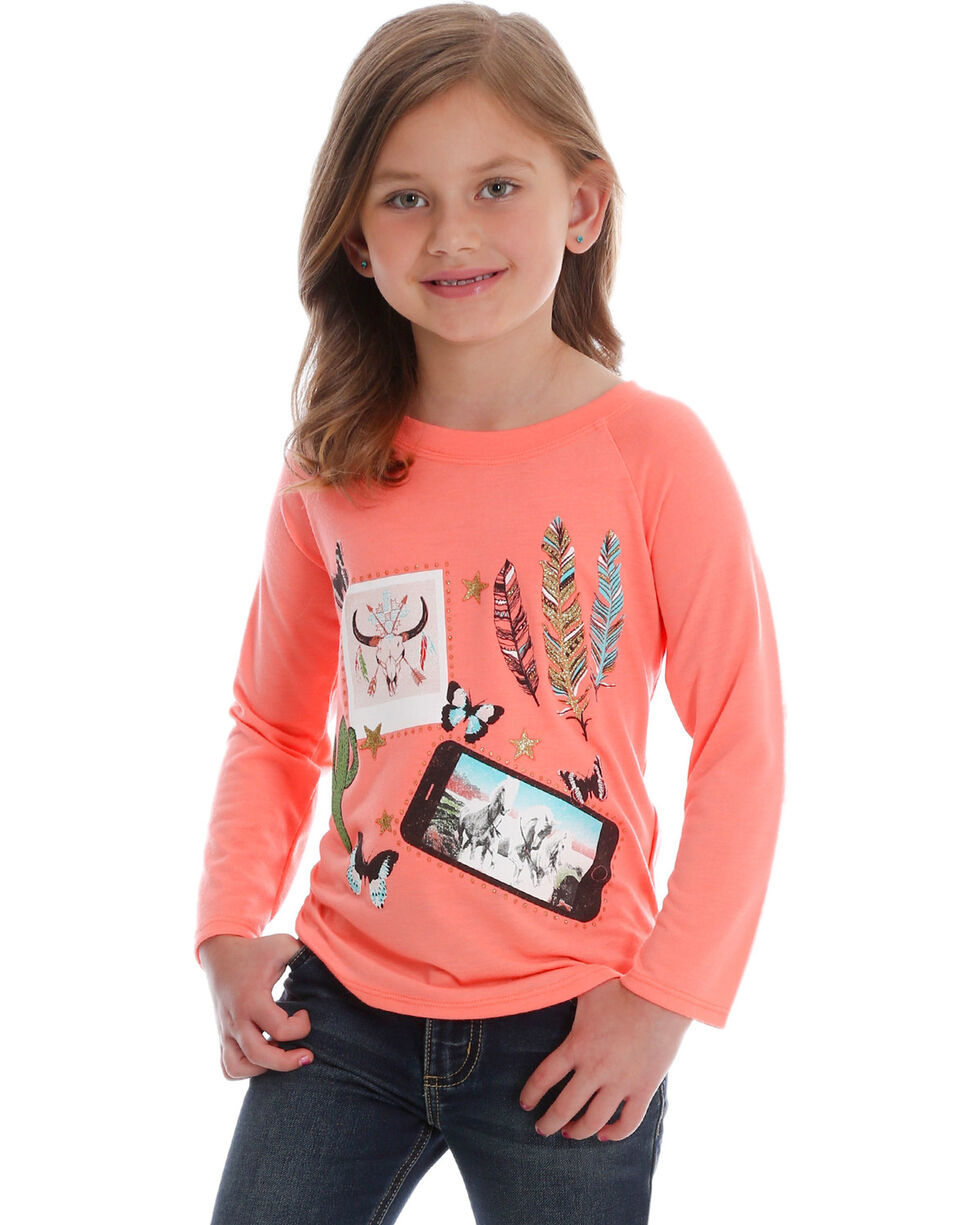 Wrangler Girl's Western Collage Graphic Shirt, Coral, hi-res