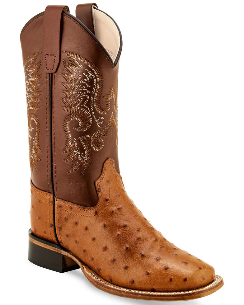 Old West Boys' Ostrich Print Western Boots - Wide Square Toe, Cognac, hi-res