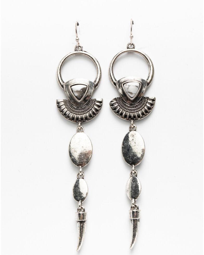 Shyanne Women's Blue Falls Geo Linear Earrings, Silver, hi-res