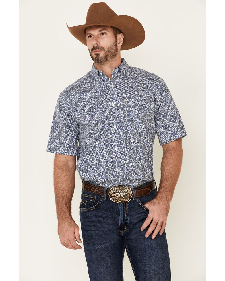 Ariat Men's Blue Birkin Geo Print Short Sleeve Western Shirt , Blue, hi-res