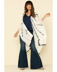 Shyanne Women's Tie-Dye Shawl, White, hi-res