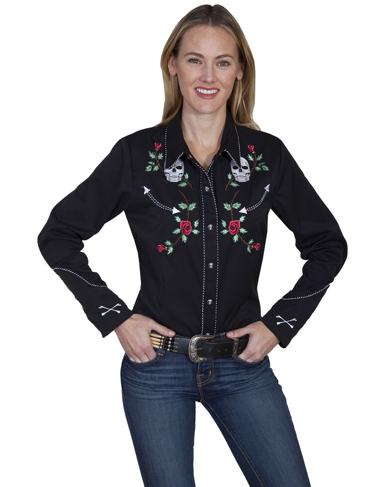Scully Women's Skulls and Roses Long Sleeve Shirt, Black, hi-res