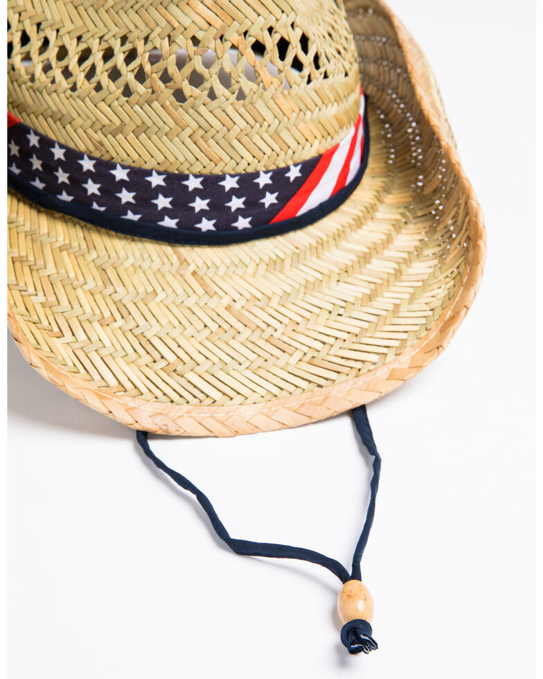 Cody James Men's American Flag Drawstring Cowboy Hat, Natural, hi-res