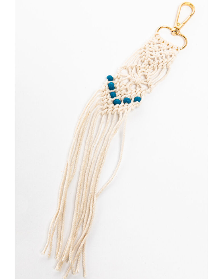 Shyanne Women's Macrame Key Chain , Ivory, hi-res