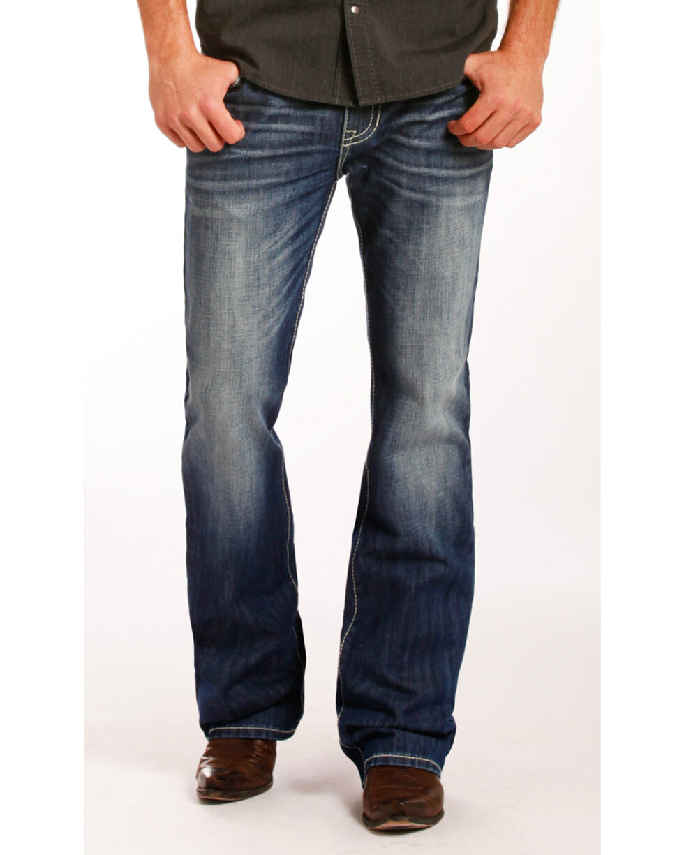 Rock & Roll Cowboy Men's Pistol Embroidered Jeans - Boot Cut , Indigo, hi-res