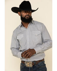 Ely Walker Men's Charcoal Mini Geo Print Long Sleeve Western Shirt , Charcoal, hi-res