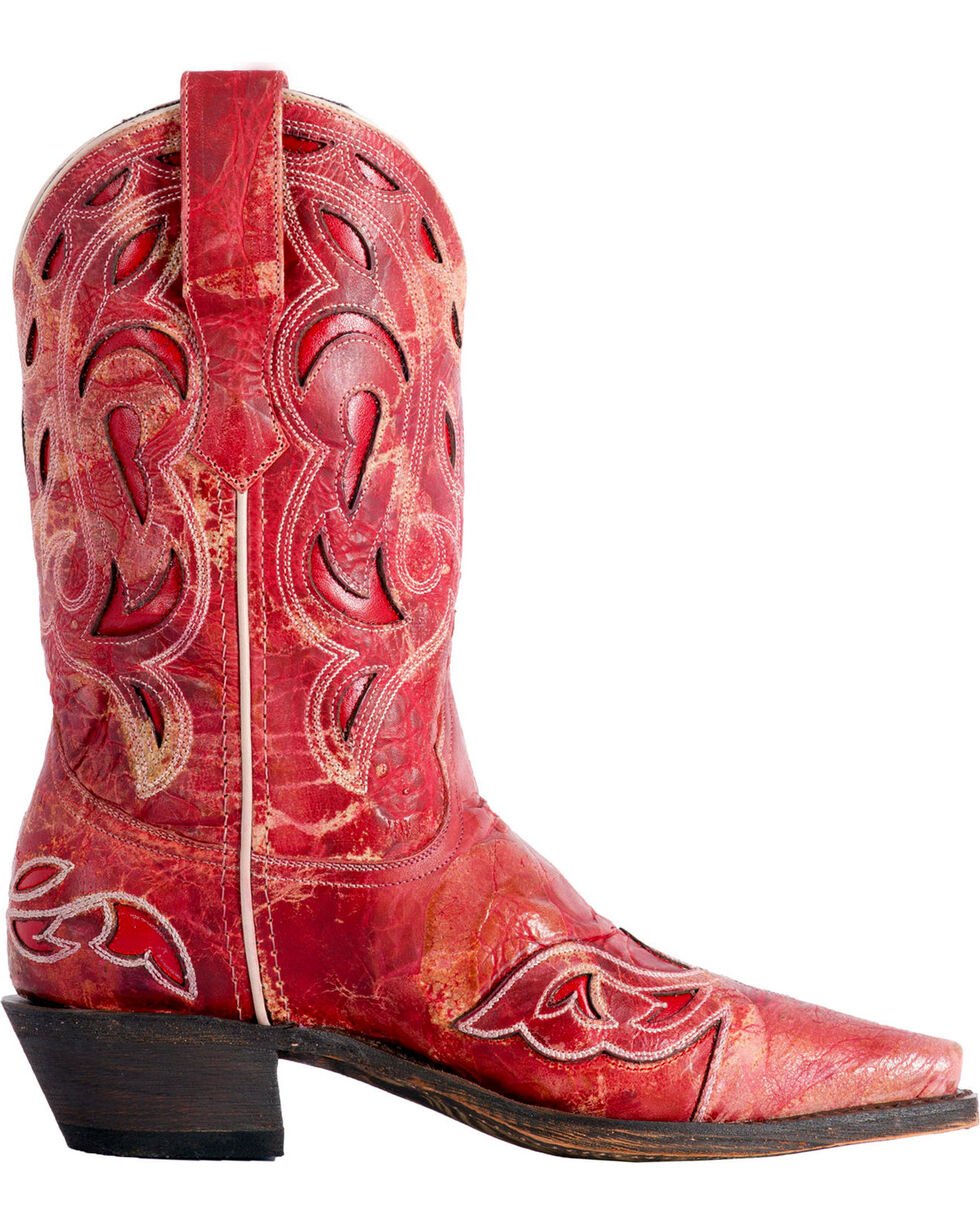 Laredo Women's No More Drama Red Underlay Cowgirl Boots - Snip Toe, Red, hi-res