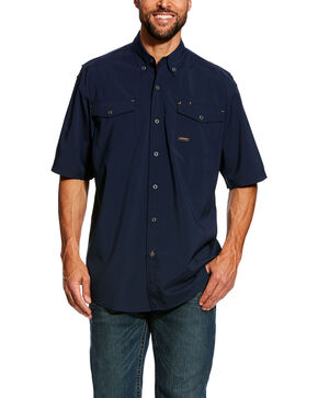 Ariat Men's Navy Rebar Made Tough Vent Short Sleeve Work Shirt , Navy, hi-res