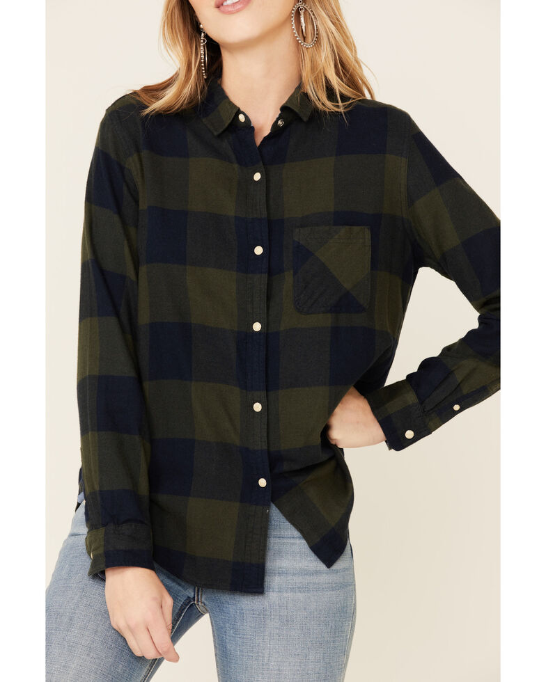 Flag & Anthem Women's Olive Edina Buffalo Plaid Long Sleeve Western Shirt , Olive, hi-res