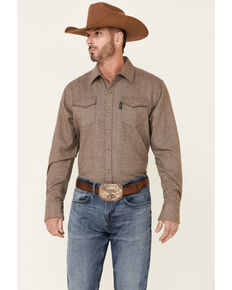 Outback Trading Co. Men's Light Brown Declan Snap-Front Heavy Western Shirt , Brown, hi-res