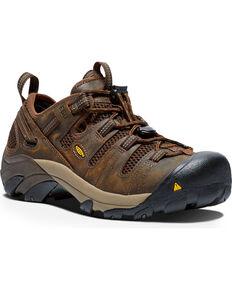 Keen Men's Atlanta Cool Waterproof ESD Work Shoes, Brown, hi-res