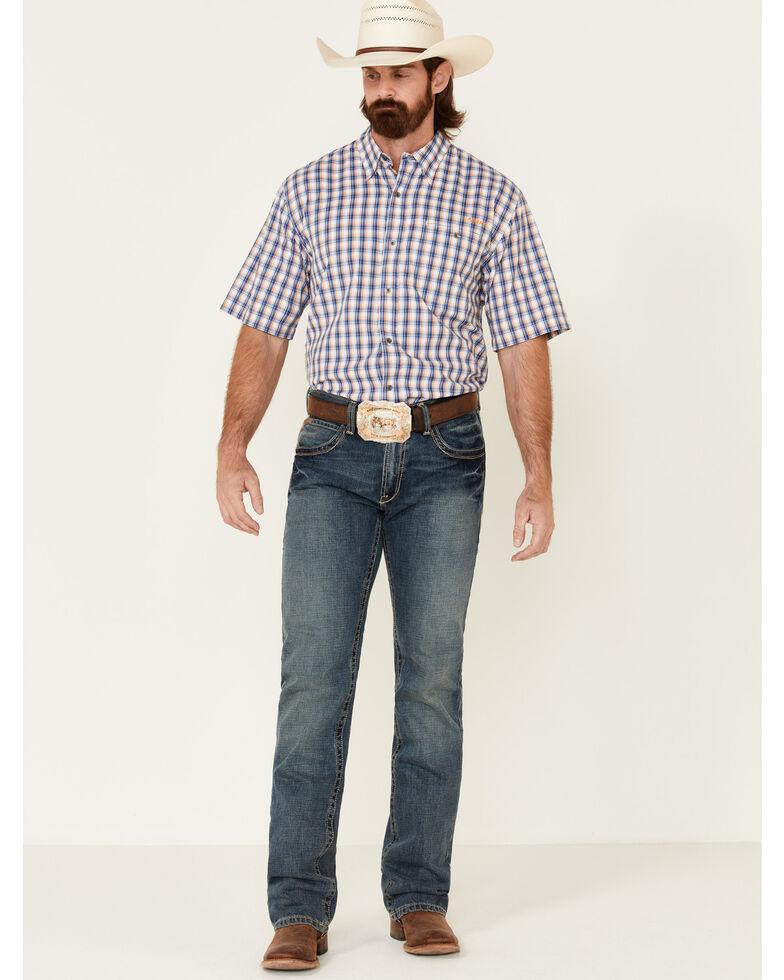 Ariat Men's Navy Checkered TEK Short Sleeve Button-Down Western Shirt - Big, Navy, hi-res