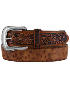 Tony Lama Men's Rustic Ostrich Western Belt, Brown, hi-res