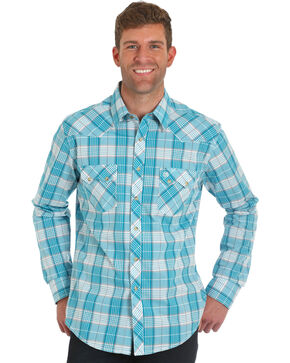 Wrangler Retro Men's Blue Plaid Long Sleeve Shirt , Blue, hi-res