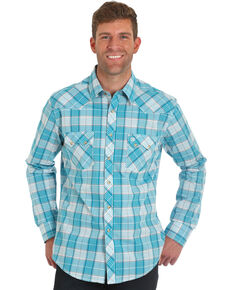 Wrangler Retro Men's Blue Plaid Long Sleeve Shirt , Blue, hi-res