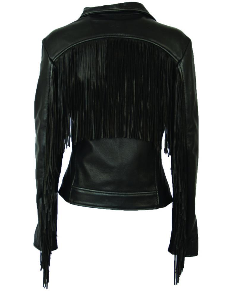 STS Ranchwear Women's Black Chenae Fringe Leather Jacket, Black, hi-res