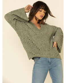 POL Women's Chenille Oversized Sleeve V-Neck Sweater , Olive, hi-res