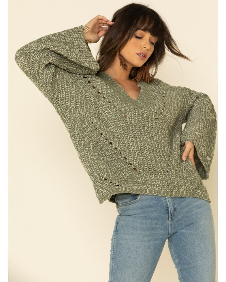 POL Women's Chenille Oversized Sleeve V-Neck Sweater , Olive, hi-res