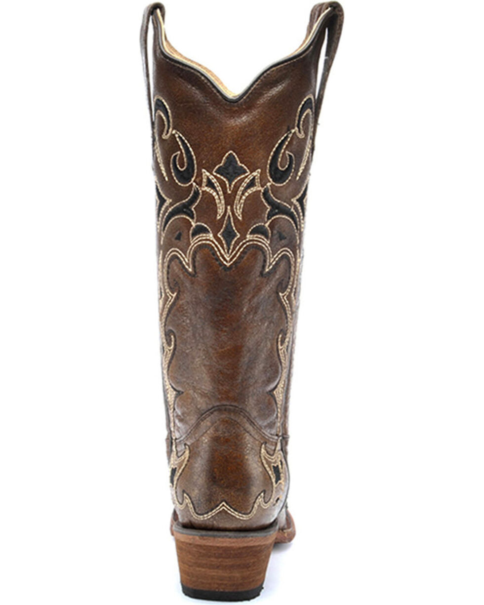 Circle G Women's Honey Side Embroidered Boots - Snip Toe , Honey, hi-res