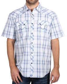 Moonshine Spirit Men's White Plaid Short Sleeve Western Shirt , White, hi-res
