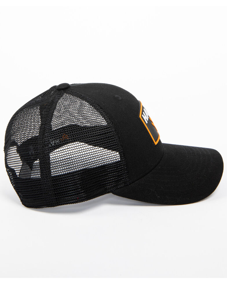 Hawx® Men's Black Patch Logo Trucker Cap, Black, hi-res