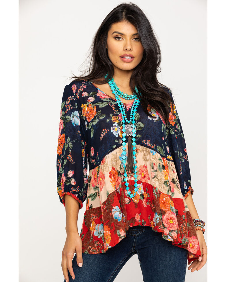 Bila Women's Tiered Mixed Print Peasant Top, Red/white/blue, hi-res