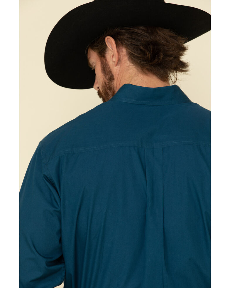 Cinch Men's Dark Blue Solid Long Sleeve Western Shirt - Big , Blue, hi-res
