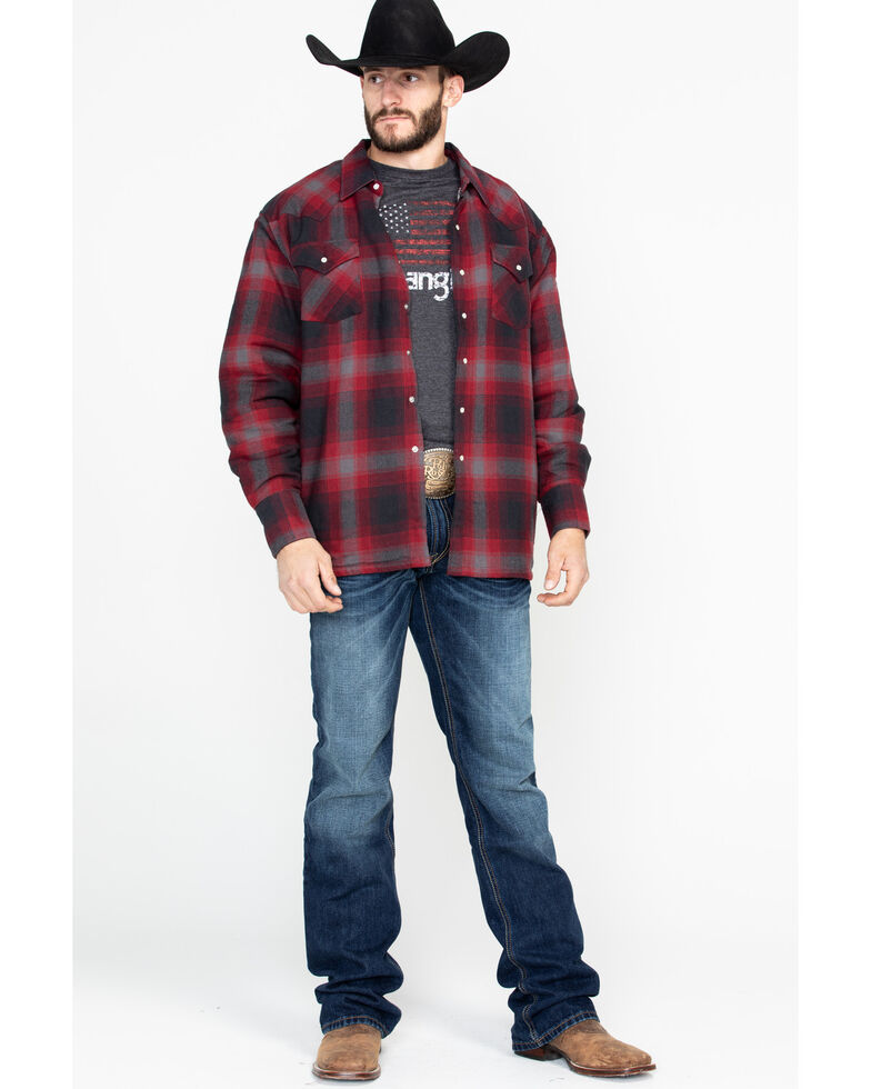 Ely Cattleman Men's Sherpa Lined Brawny Plaid Western Flannel Shirt Jacket - Tall , Red, hi-res