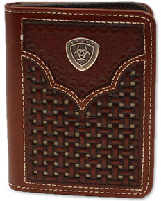 Ariat Men's Bifold Basketweave Western Wallet, Brown, hi-res