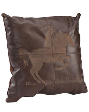 BB Ranch Leather Cowboy Throw Pillow, Brown, hi-res