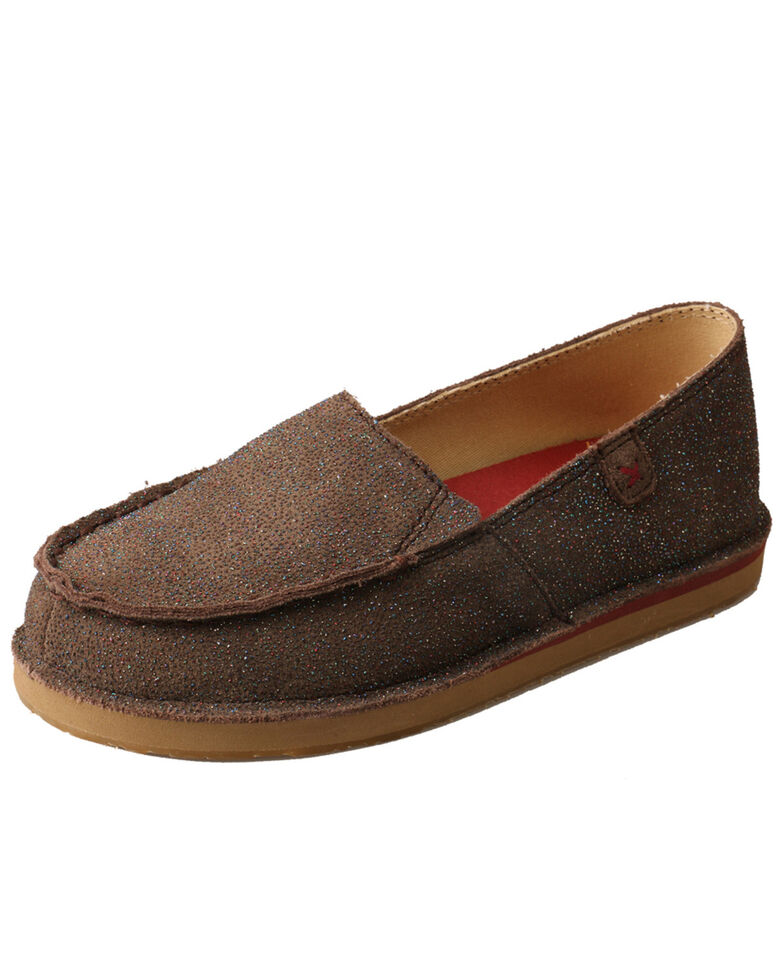 Twisted X Girls' Chocolate Slip-On Loafers - Moc Toe, Chocolate, hi-res