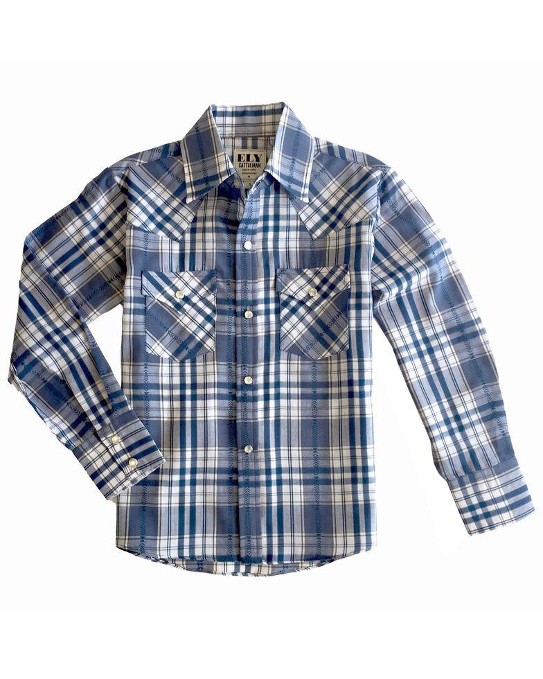 Ely Walker Boys' Multi Aztec Plaid Long Sleeve Western Shirt , Blue, hi-res