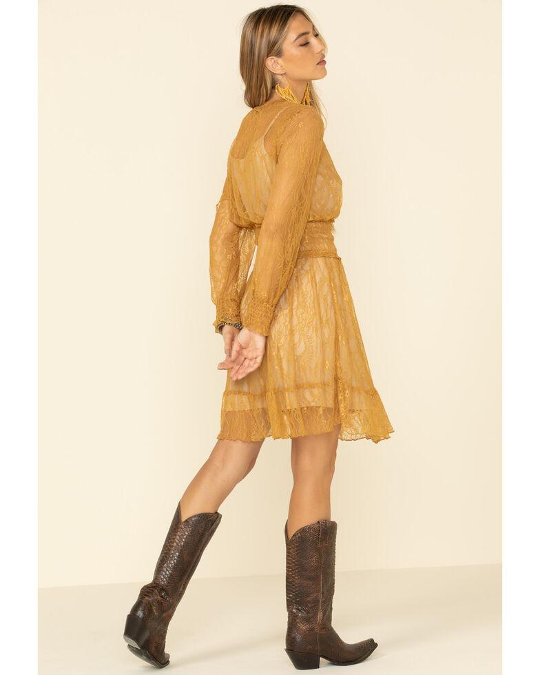 Olive Hill Women's Mustard Lace Dress, Dark Yellow, hi-res