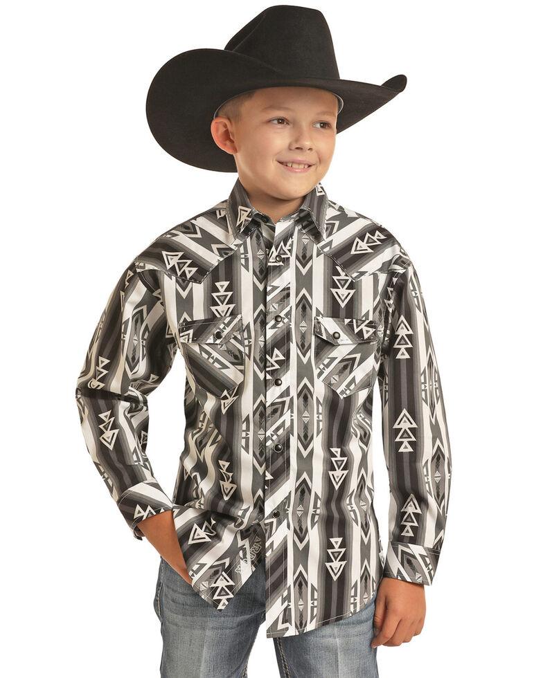 Rock & Roll Denim Boys' Grey Aztec Striped Print Long Sleeve Western Shirt , Grey, hi-res