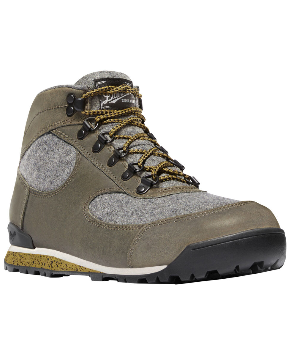 Danner Men's Smoke Grey Jag Wool Lace Up Boots - Round Toe, Charcoal, hi-res