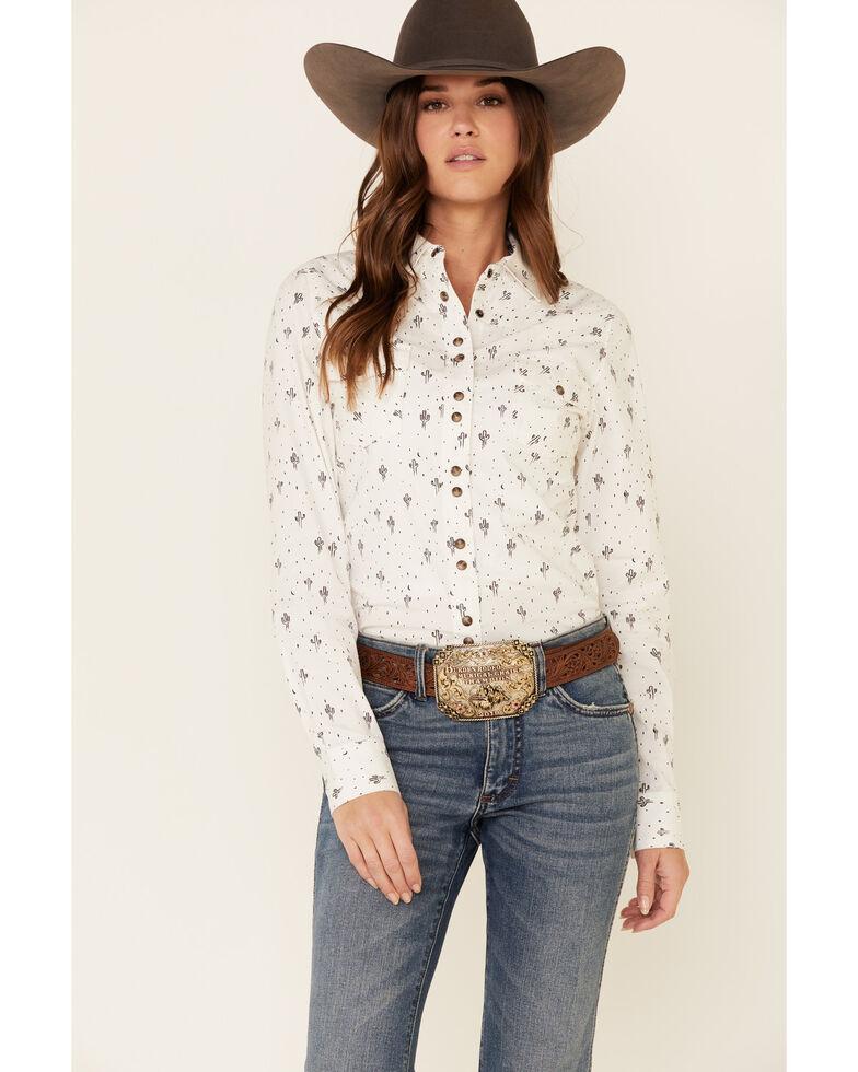 Shyanne Life Women's White Cactus Print Long Sleeve Western Riding Shirt , White, hi-res
