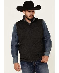 George Strait By Wrangler Men's Solid Black Zip-Front Vest , Black, hi-res