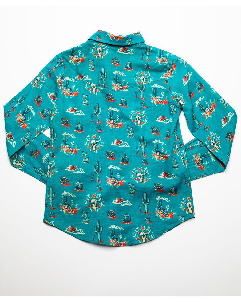 Roper Girls' Blue Cactus Print Snap Long Sleeve Western Shirt, Blue, hi-res